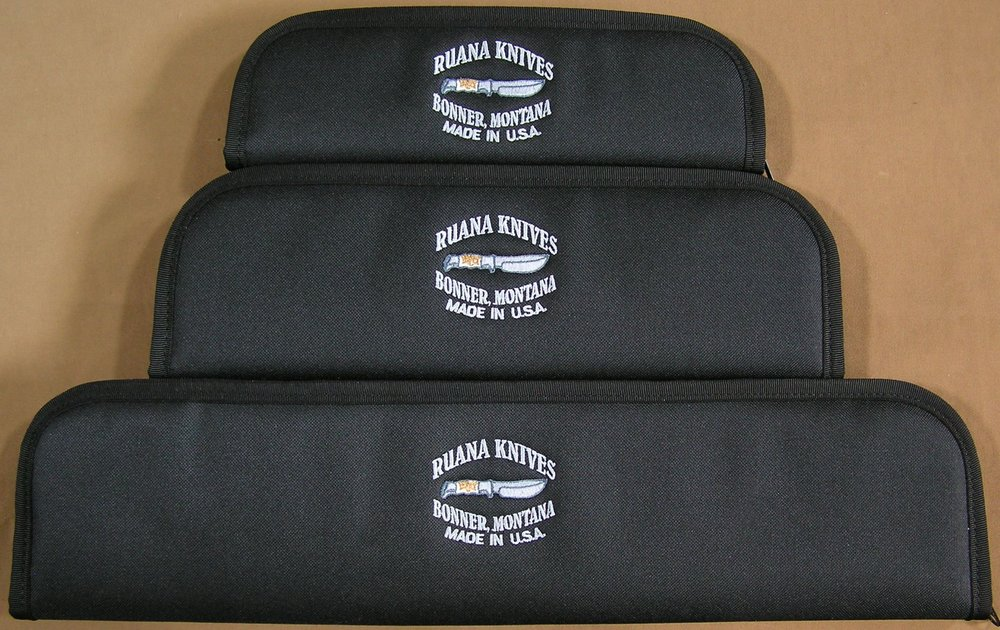 "Cases - When you are not carrying your knife, its best to store it out of a sheath if possible to eliminate the possibility of collecting moisture, but safety is an issue with an exposed blade in a safe or drawer.  You can now safely store and protect your knife (and yourself) with American Made zipper cases embroidered with the Ruana Knives logo. The zipper cases are also great for storing kitchen knives and transporting your knives and sheaths. Each case is constructed with a durable synthetic polyester cover, thick foam padding, the finest zipper in the industry and a non-absorbent plush interior fabric.PricesSmall - 3"" x 10""$ 16  -  Sold Separately$ 13 -  With new knife purchase, limited to one case per new knife at this priceMedium - 4"" x 13""$ 20   -  Sold Separately$ 16   -  With new knife purchase, limited to one case per new knife at this priceLarge ~ 5"" x 19""$ 24  -  Sold Separately$ 19  -  With new knife purchase, limited to one case per new knife at this pric"