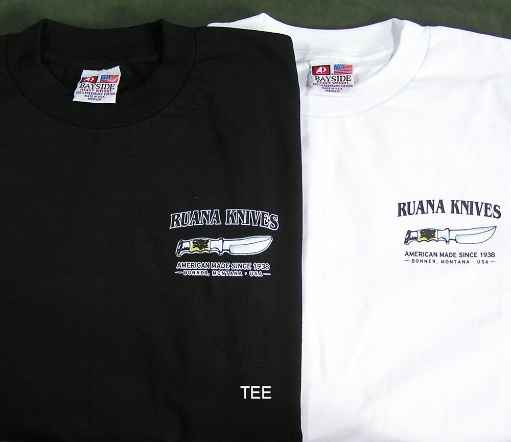 T-Shirts - Heavy duty and completely American Made t-shirts that are a Ruana and Montana souvenir in one. Made from 100 % pre-shrunk cotton with silk screened Ruana and American Made logo on the front left side exclusive to these t-shirts. Available in Black & White in adult sizes: M – 3XL. Please specify color and size when ordering.Be sure to specify color and size when ordering.T-Shirt ~ $20 sold separatelyT- Shirt ~ $15 with knife purchase, limited to two t-shirts per new knife at discounted price