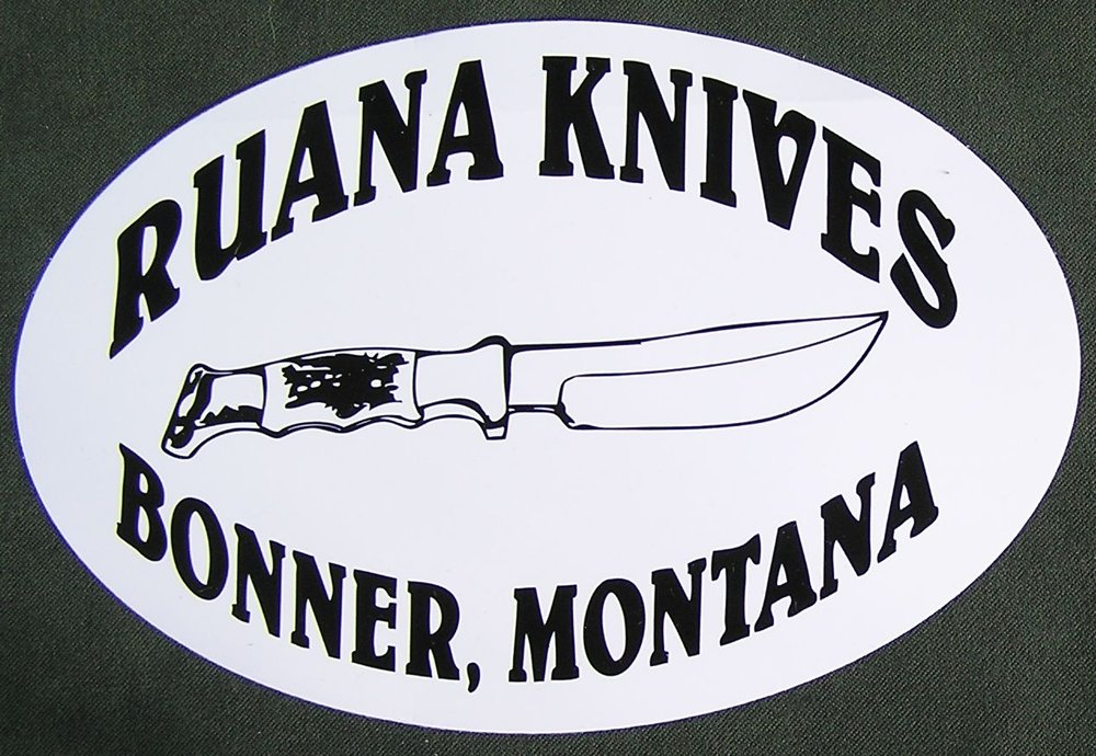 "Ruana Decal - Ruana Knives -  4"" x 6"" decal with adhesive back for bumpers, windows, etc.Prices -$3 sold separately$2 with knife purchase, limit two per purchase"