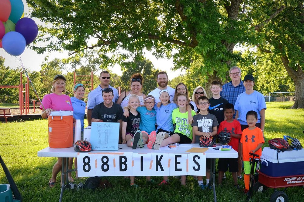 The 5th and 6th grade girls of Tonganaxie United Methodist Church in Kansas during a bike-a-thon fundraiser!