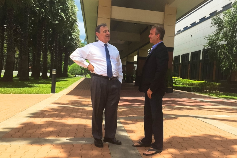 US Ambassador to Cambodia Bill Heidt chats with Dan at the US Embassy in Cambodia in 2017.