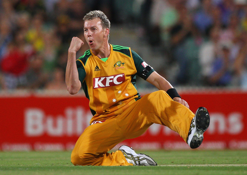 Brett Lee celebrates taking Australia's first wicket during the First Twenty20 International Match between Australia and England at Adelaide Oval on January 12, 2011