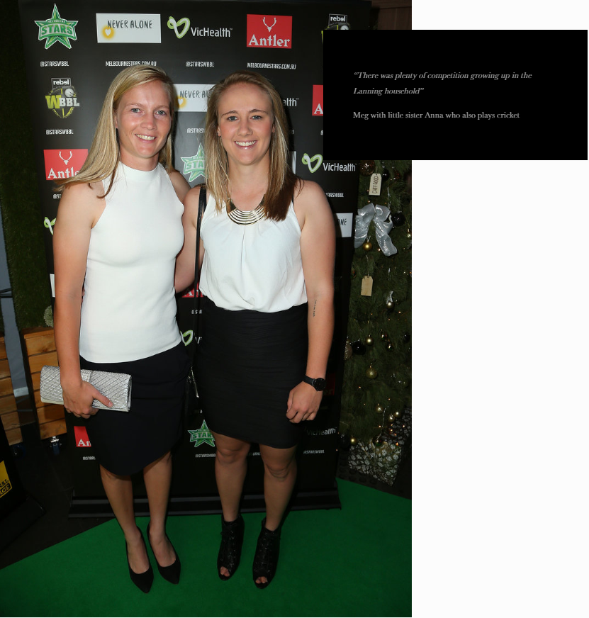 Meg with little sister Anna who plays Cricket in the WBBL for the Melbourne Renegades