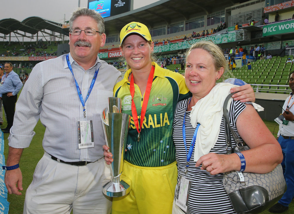 Meg Lanning poses with her parents Wayne and Sue after the Final win of the ICC Women's World Twenty20 Bangladesh 2014