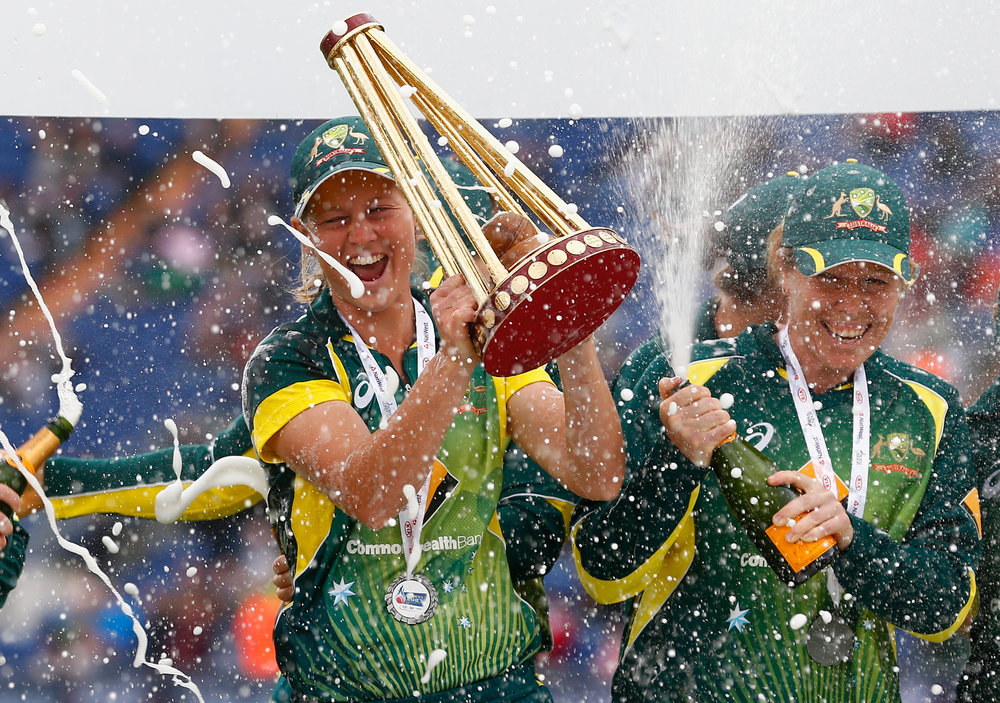 Meg celebrates winning the Ashes during the 3rd NatWest T20 of the Women's Ashes Series in 2015