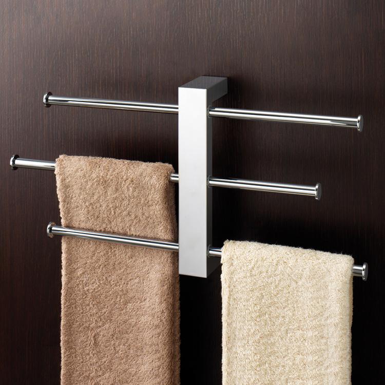 polished chrome towel rack