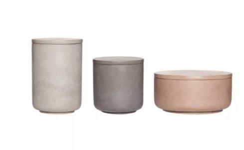 Hubsch Tonal Concrete Jars