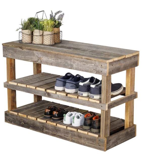 barnwood shoe storage bench