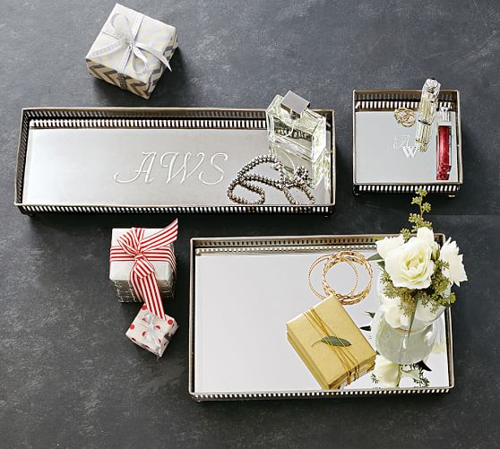 mirrored dresser top trays