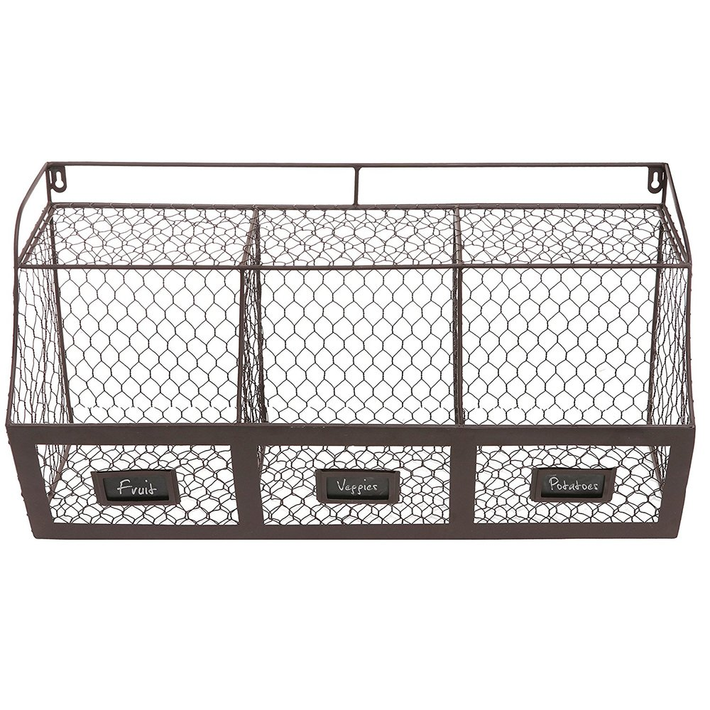 rustic wall-mounted baskets