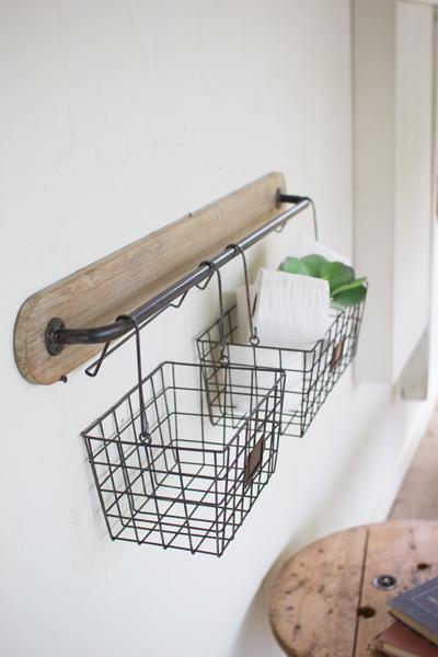 wood & metal wall baskets