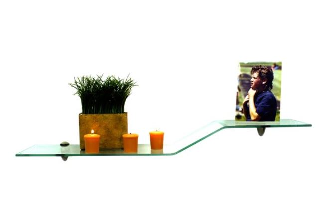 floating glass wall shelf