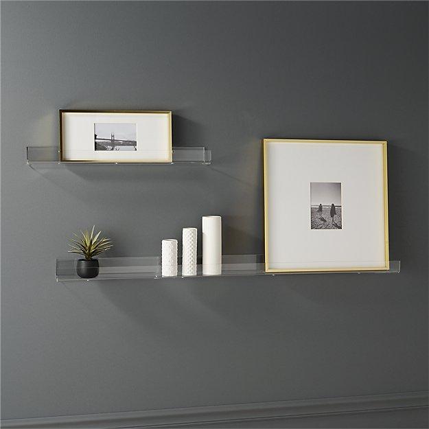 cb2 acrylic wall shelves