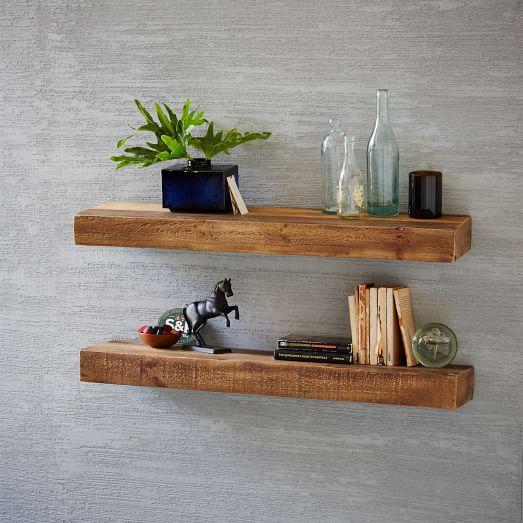 reclaimed wood floating shelf