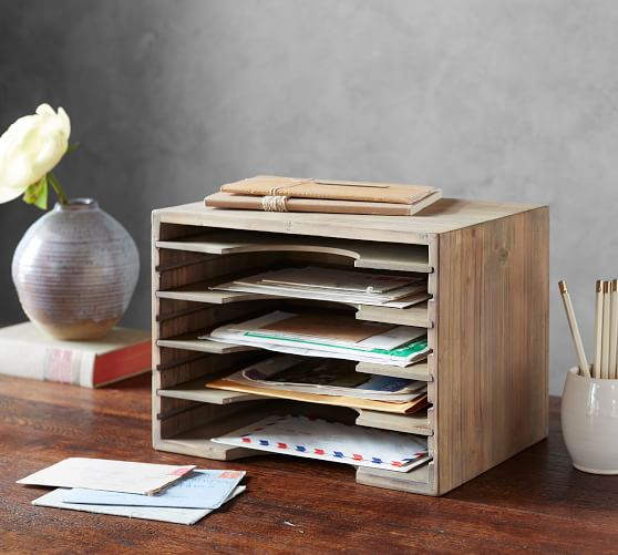 wood mail sorter