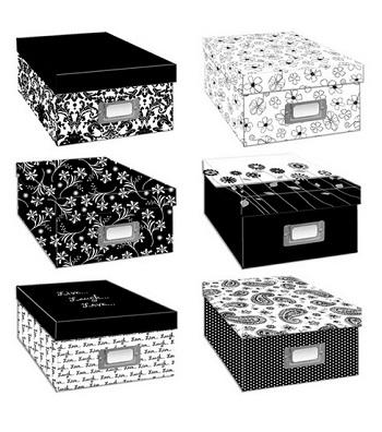 black/white storage boxes