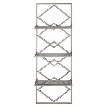 geometric iron/glass bookcase