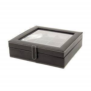 black leather cufflink box
