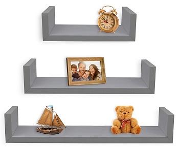 greenco grey floating shelves