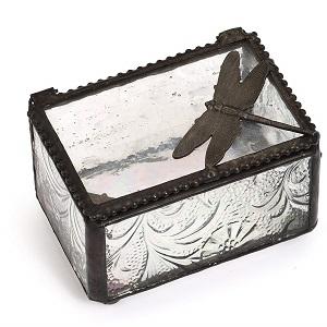 textured glass trinket box
