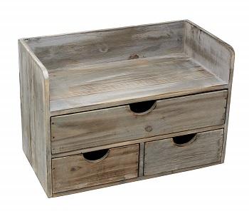 rustic wooden desk organizer