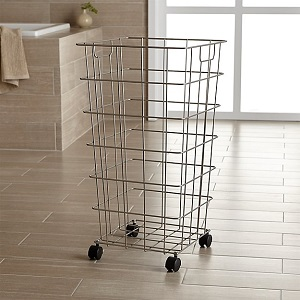 nickel wire hamper w/wheels