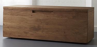 cb2 acacia storage bench