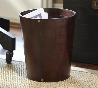 saddle leather trash bin