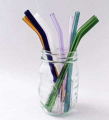 strawesome barely bent GLASS straws