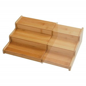 seville bamboo step shelf rack