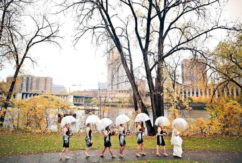 06-Minneapolis-Minnesota-Wedding-Photography-Downtown-Rain-Nicollet-Island-Pavilion-Fall-Colors-Fall-Leaves-Autumn-Umbrellas-Bridesmaid-Group-Kalley-and-Ben.jpg