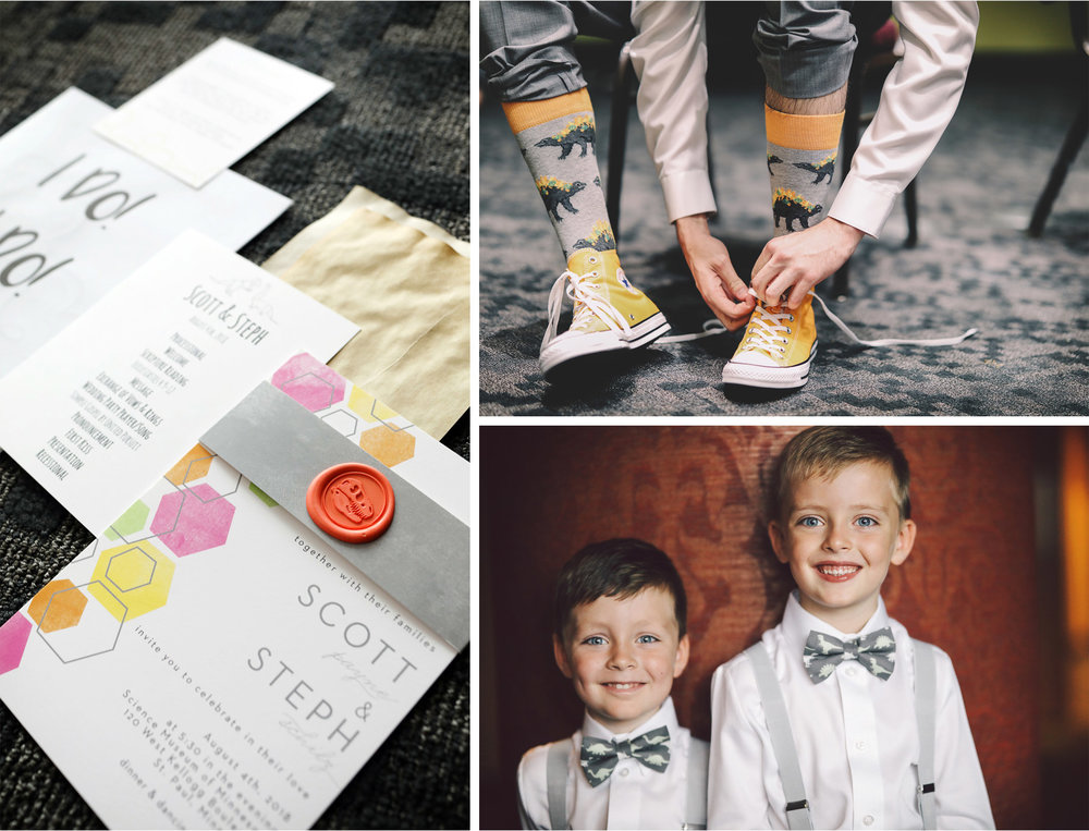 02-St-Paul-Minnesota-Wedding-Photography-by-Vick-Photography-Science-Museum-Dinosaur-Wedding-Dino-Socks-Dinosaur-Invitations-Dino-Bow-Ties-Stephanie-and-Scott.jpg