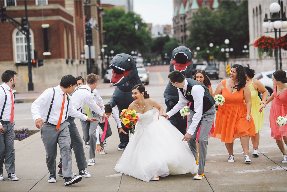 09-St-Paul-Minnesota-Wedding-Photography-by-Vick-Photography-Science-Museum-Dinosaur-Wedding-Group-Wedding-Party-Dinosaur-Chase-Stephanie-and-Scott.jpg