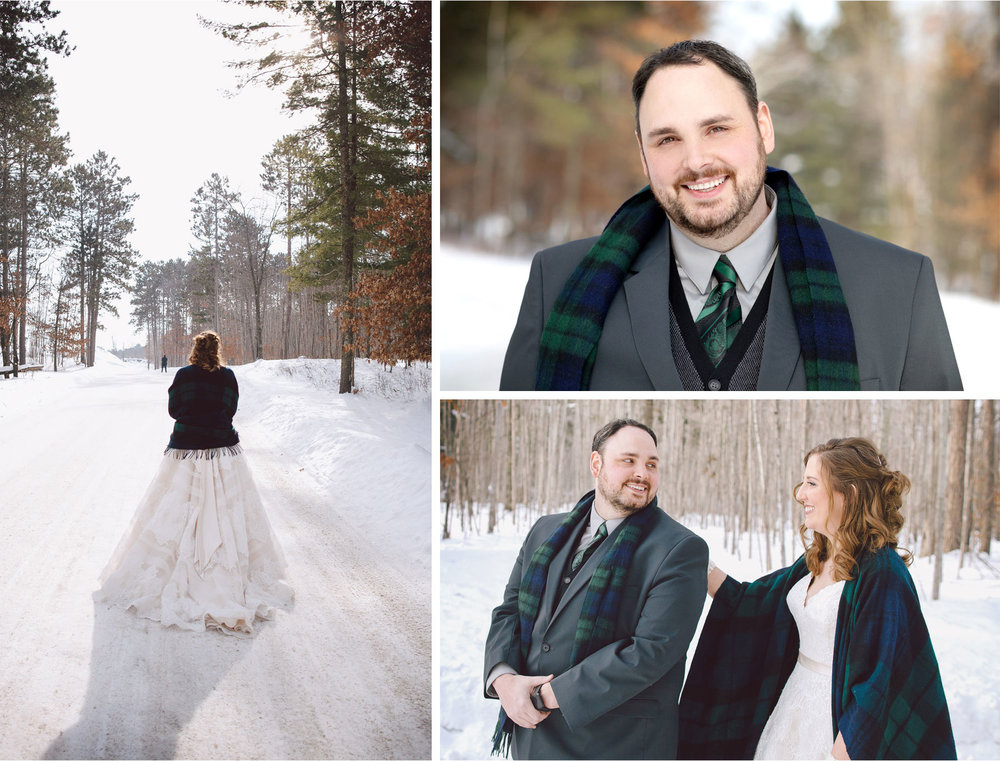 03-Brainerd-Minnesota-Wedding-by-Andrew-Vick-Photography-Nisswa-Grandview-Lodge-Winter-First-Look-Scarf-Plaid.jpg