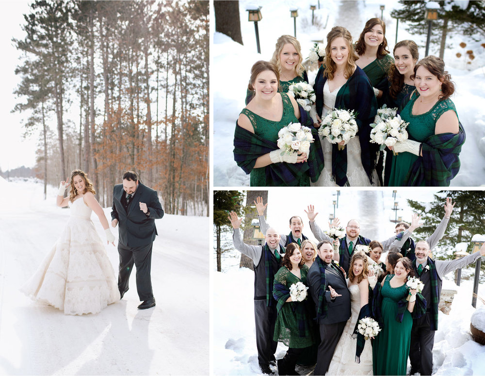 05-Brainerd-Minnesota-Wedding-by-Andrew-Vick-Photography-Nisswa-Grandview-Lodge-Winter-First-Look-Scarf-Plaid-Green-Group.jpg