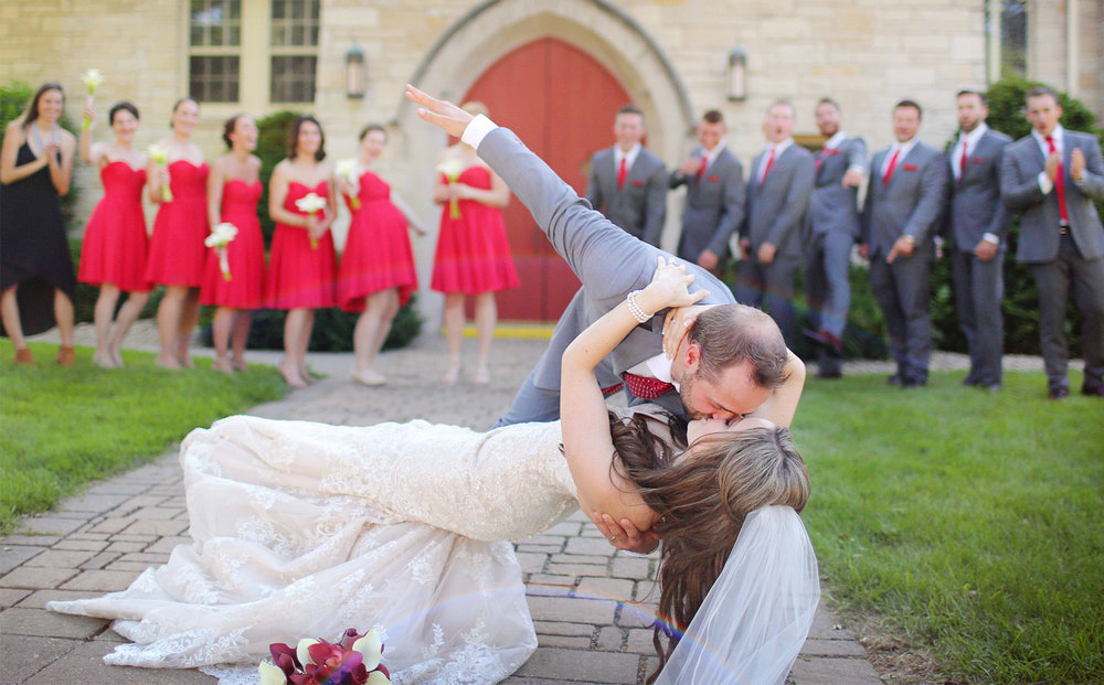 16-Minneapolis-Minnesota-Wedding-Photographer-by-Andrew-Vick-Photography-Summer-Diamond-Lake-Church-Celebration-Excited-Kiss-Dip-Bridesmaids-Groomsmen-Bride-Groom-Natalie-and-Andrew.jpg