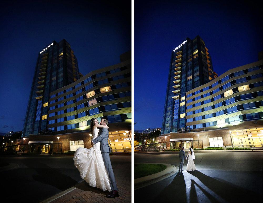 25-Minneapolis-Minnesota-Wedding-Photographer-by-Andrew-Vick-Photography-Summer-Edina-Westin-Hotel-Embrace-Night-Outside-Bride-Groom-Natalie-and-Andrew.jpg