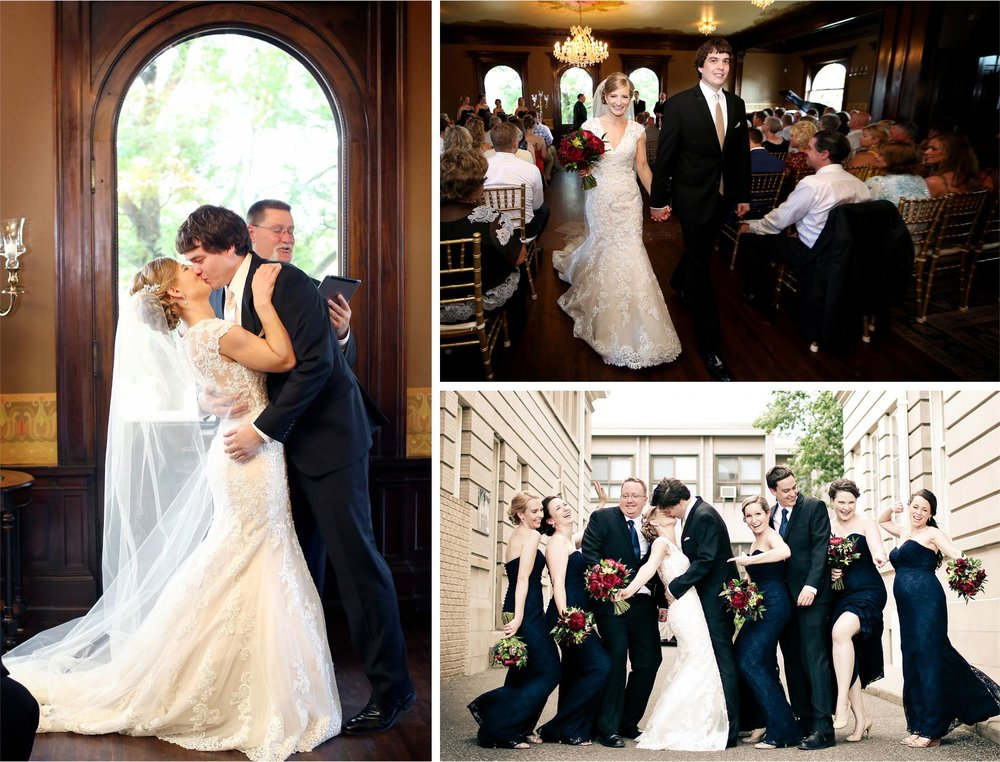 10-Minneapolis-Minnesota-Wedding-Photographer-by-Andrew-Vick-Photography-Summer-Semple-Mansion-Ceremony-Bride-Groom-Kiss-Bridal-Party-Vintage-Stephanie-and-Brady.jpg