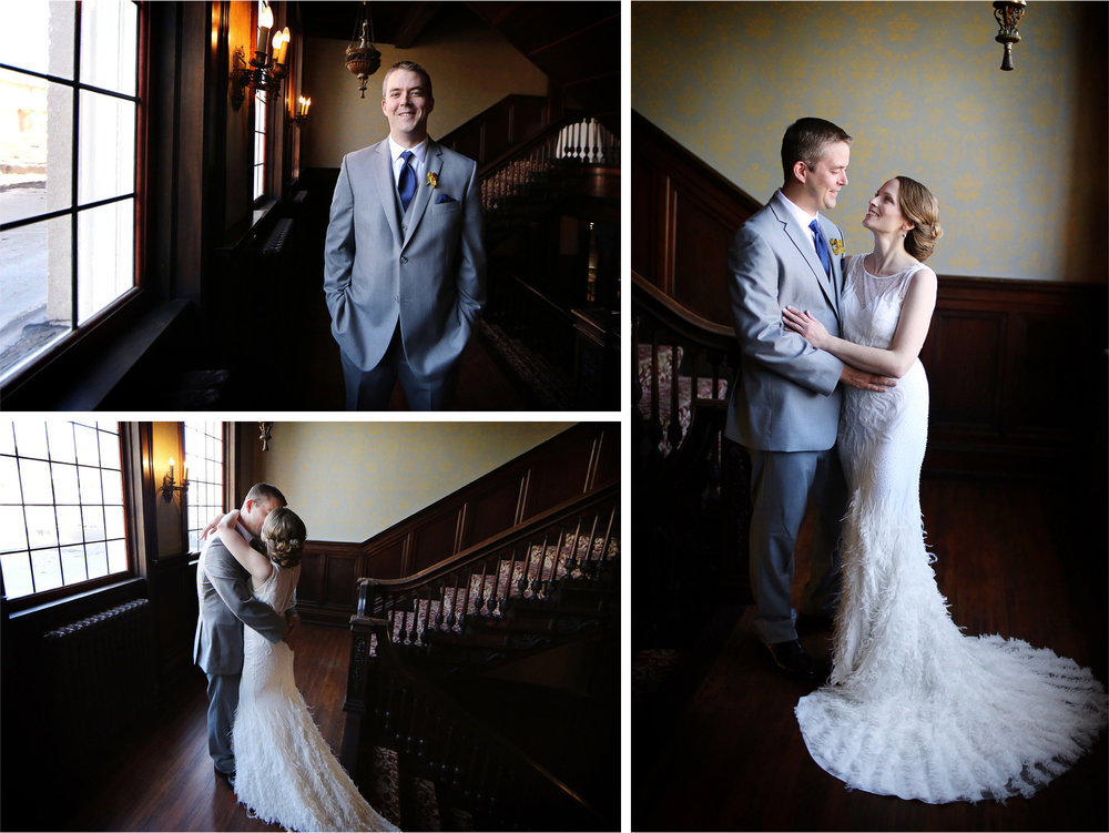 06-Minneapolis-Minnesota-Wedding-Photographer-by-Andrew-Vick-Photography-Summer-Semple-Mansion-Bride-Dress-Feathers-Groom-Kiss-Embrace-First-Meeting-Look-Stephanie-and-Robert.jpg