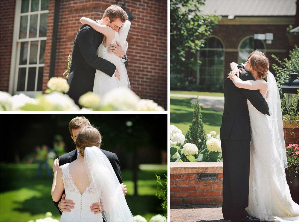 05-Edina-Minnesota-Wedding-Photographer-by-Andrew-Vick-Photography-Summer-Our-Lady-of-Grace-Catholic-Parish-Church-Bride-Groom-First-Look-Meeting-Hug-Kiss-Dress-Veil-Embrace-Vintage-Betsy-and-Jon.jpg