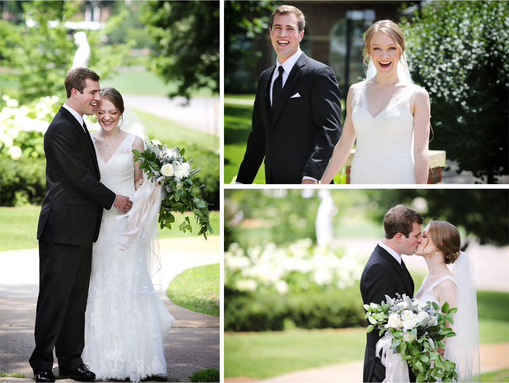 07-Edina-Minnesota-Wedding-Photographer-by-Andrew-Vick-Photography-Summer-Our-Lady-of-Grace-Catholic-Parish-Church-Bride-Groom-First-Look-Meeting-Kiss-Laughter-Embrace-Betsy-and-Jon.jpg