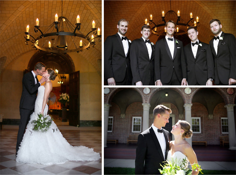 06-Saint-Paul-Minnesota-Wedding-Photographer-by-Andrew-Vick-Photography-Summer-Nazareth-Chapel-University-of-Nowthwestern-Bride-Groom-Kiss-Groomsmen-Hallie-and-Ted.jpg