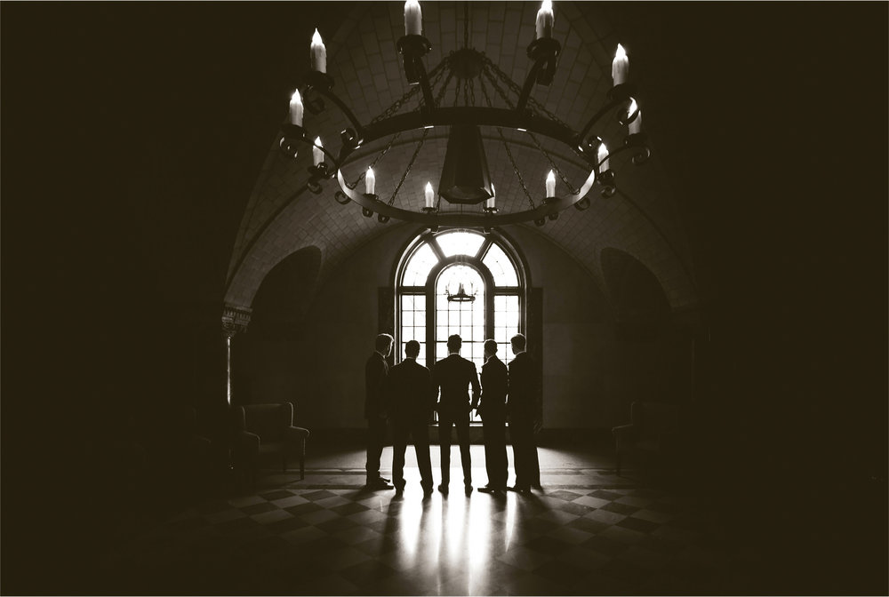 07-Saint-Paul-Minnesota-Wedding-Photographer-by-Andrew-Vick-Photography-Summer-Nazareth-Chapel-University-of-Nowthwestern-Groom-Groomsmen-Sepia-Hallie-and-Ted.jpg