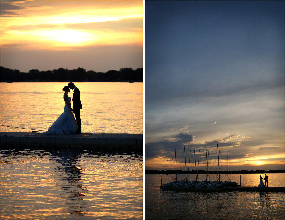 16-White-Bear-Lake-Minnesota-Wedding-Photographer-by-Andrew-Vick-Photography-Summer-Yacht-Club-Bride-Groom-Holding-Hand-Docks-Sailboats-Boats-Sunset-Hallie-and-Ted.jpg