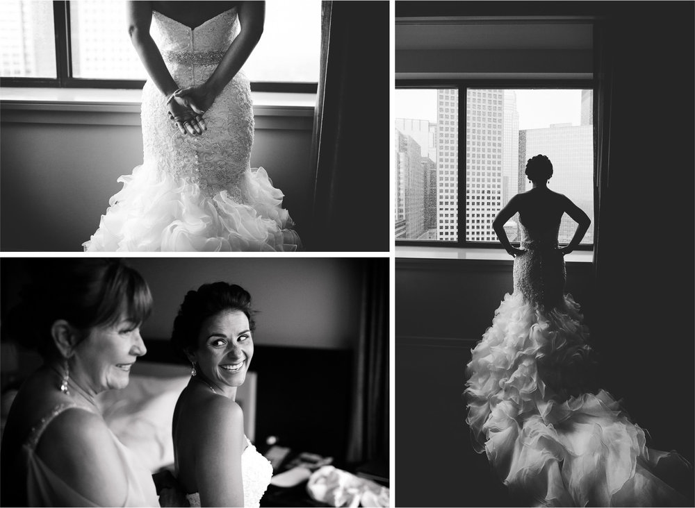 03-Minneapolis-Minnesota-Wedding-Photographer-by-Andrew-Vick-Photography-Summer-Loews-Hotel-Bride-Mother-Parents-Getting-Ready-Dress-Train-Black-and-White-Lindsay-and-Dustin.jpg