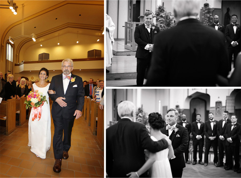 14-Minneapolis-Minnesota-Wedding-Photographer-by-Andrew-Vick-Photography-Summer-Ceremony-Saint-Albert-the-Great-Church-Bride-Groom-Father-Parents-Aisle-Black-and-White-Lindsay-and-Dustin.jpg