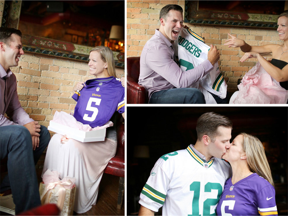 07-Minneapolis-Minnesota-Engagement-Photographer-by-Andrew-Vick-Photography-Summer-Saint-Anthony-Main-Aster-Cafe-Vikings-Green-Bay-Packers-Jerseys-Football-Kiss-Excitement-Gifts-Tina-and-Kevin.jpg