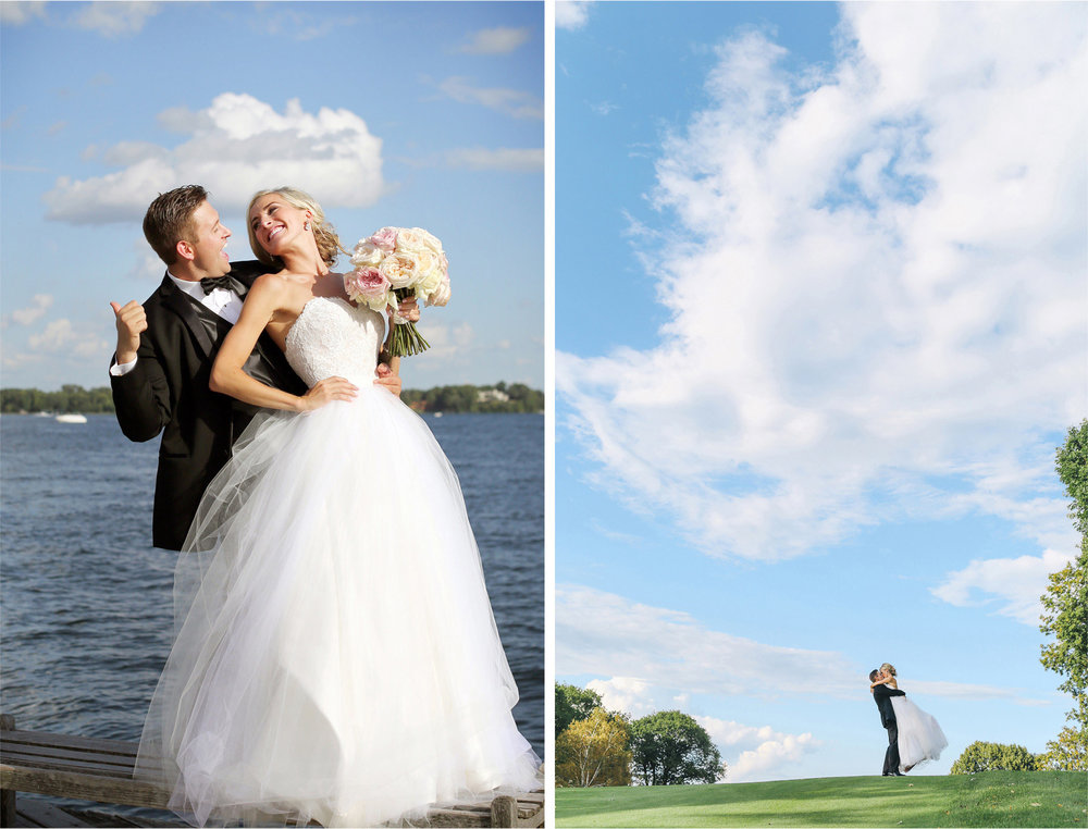 16-Minnetonka-Beach-Minnesota-Wedding-Photographer-by-Andrew-Vick-Photography-Summer-Lake-Lafayette-Club-Bride-Groom-Excitement-Docks-Golf-Course-Kiss-Lift-Emily-and-Jay.jpg