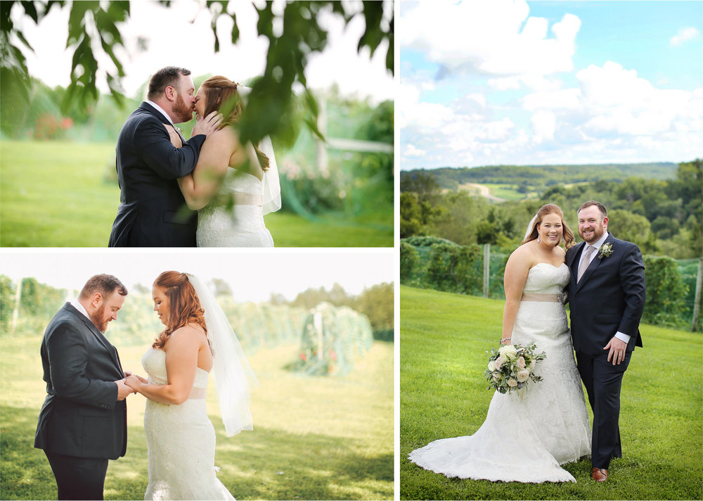 07-Cannon-Falls-Minnesota-Wedding-Photographer-by-Andrew-Vick-Photography-Summer-River-Winery-First-Meeting-Look-Bride-Groom-Kiss-Field-Vintage-Becca-and-Donal.jpg