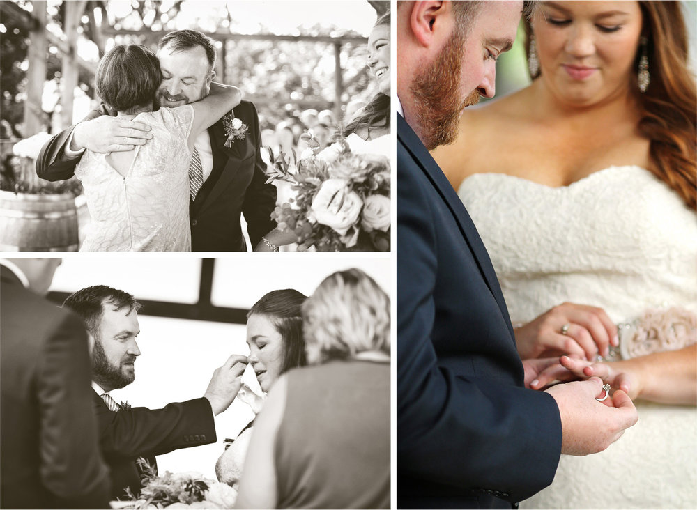 15-Cannon-Falls-Minnesota-Wedding-Photographer-by-Andrew-Vick-Photography-Summer-River-Winery-Ceremony-Bride-Groom-Rings-Vows-Tears-Crying-Vineyard-Black-and-White-Becca-and-Donal.jpg